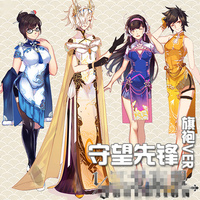 Hot Game OW Mei D VA Mercy Tracer Cheongsam Beautiful Dresses Cosplay Costome