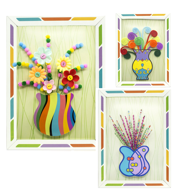 Novel Children Kid DIY Handmade Buttons Flower Button Bouquet Kindergarten Manual Course Class Button Flower Handicrafts Toys