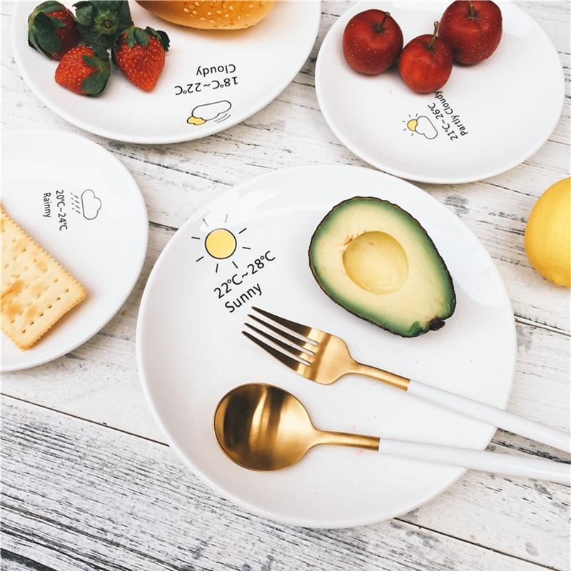 hochwertige kreative 8 zoll keramik wetter muster plate runde futternapf geschirr geschirr frhstcksteller dishes 016 - Geschirr Muster