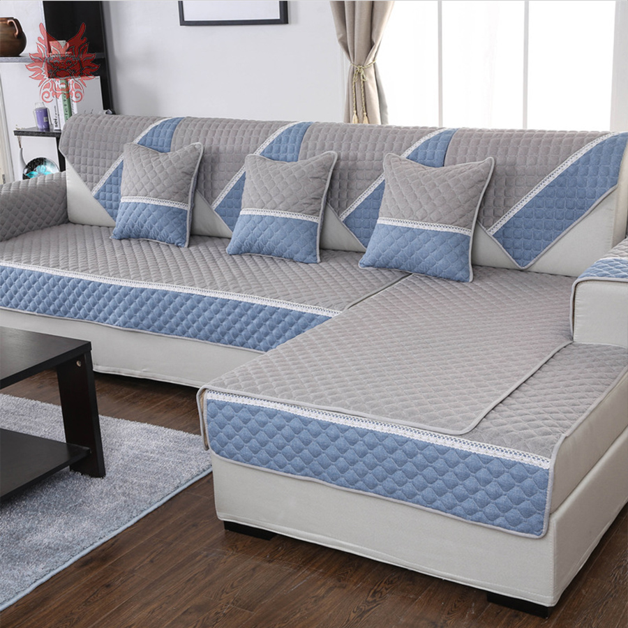 Korean Home Decor: Korean Style Grey Blue Geometric Spliced Sofa Cover