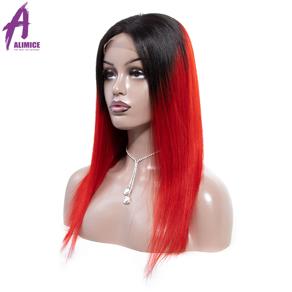 Alimice 180% Density Lace Front Human Hair Wigs Remy PinkGreenRedBlueOrange Brazilian Straight Lace Wigs With Pre Plucked (4)