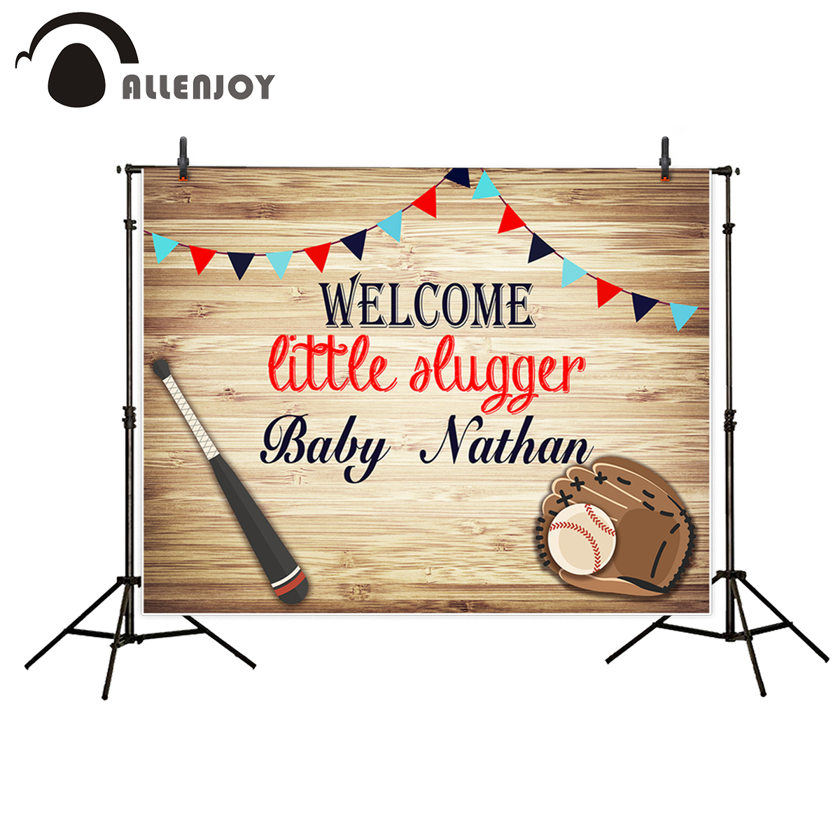Allenjoy vinyl photographic background Bamboo flag baseball Party birthday welcome backdrop photocall professional customize