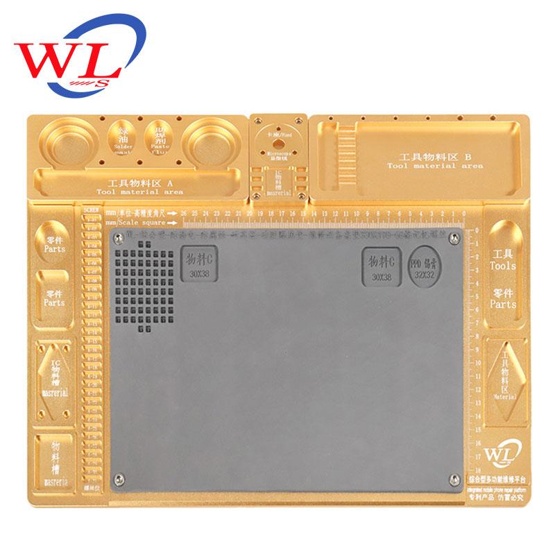 WL en alliage d'aluminium Pad de réparation multifonction Base de Microscope plate forme de Maintenance de réparation de téléphone Mobile + seulement Pad - 5
