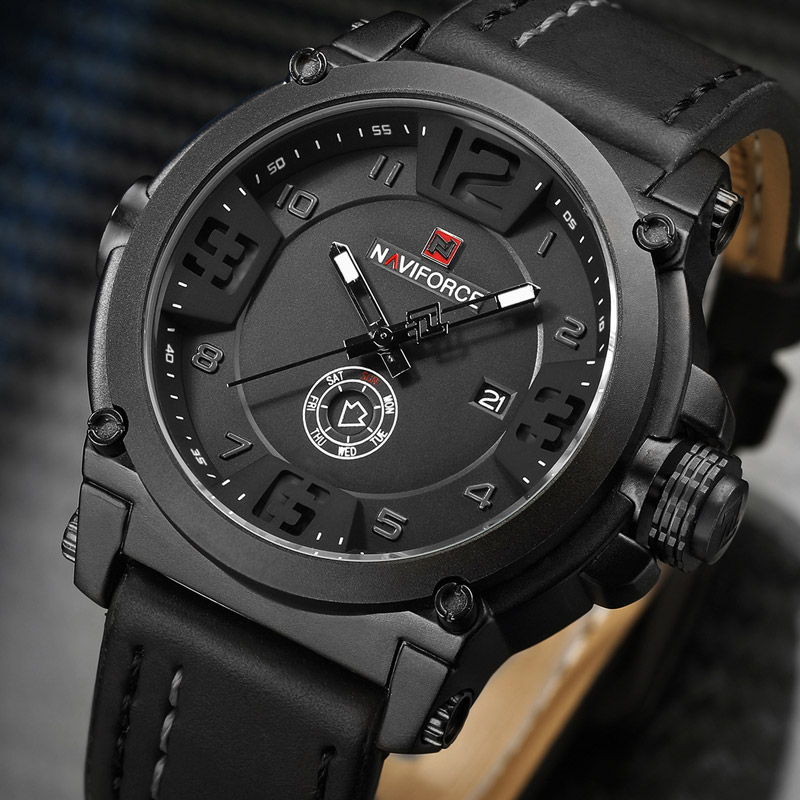 NAVIFORCE Men Watch Sport Waterproof Mens Watches Military Army Business Leather Band Quartz Male Clock Relogio Masculino 9099