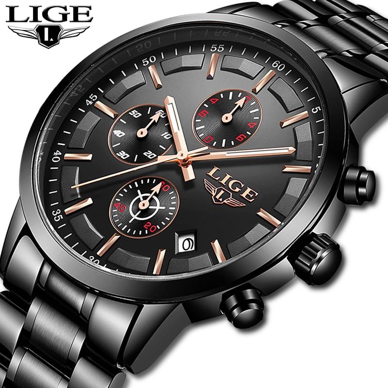 LIGE Relógio Cronógrafo Masculino Relógio Do Esporte de Quartzo Dos Homens Top Marca de Luxo Relógio de Aço Inoxidável À Prova D' Água Homens Relógio Relogio masculino
