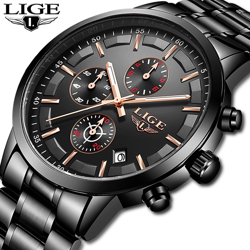 LIGE montre hommes Top marque de luxe chronographe homme Sport montre Quartz horloge acier inoxydable étanche hommes montre Relogio Masculino
