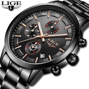 Image 2 - Lige relógio masculino de aço inoxidável à prova dwaterproof água relógios relógio de quartzo relógio de pulso masculino