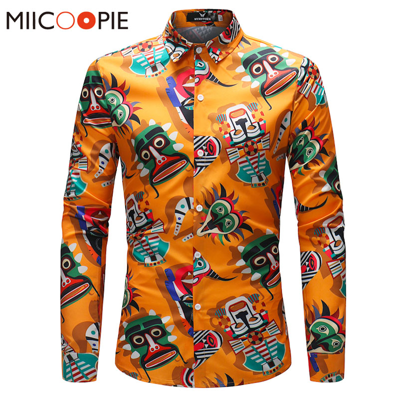 Spring Autumn Hawaii Shirts Men Casual Cartoon Printed Shirt New Male Long Sleeve Casual Slim Fit Camisa Social Masculina 4