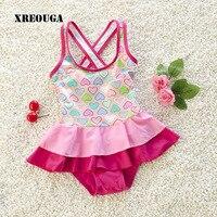 قطعة واحدة الصيف تنورة طفل الفتيات ملابس القلب طباعة الحلو الربط ملابس السباحة نمط x-الصليب عودة لل طفل SRN11