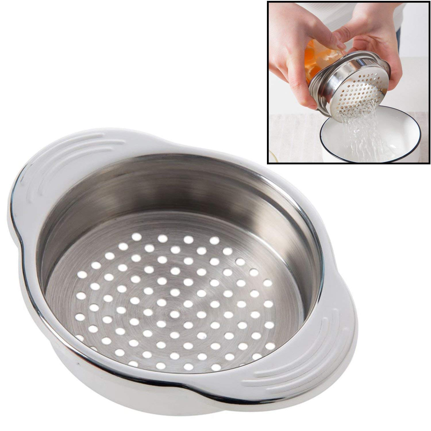 Stainless Steel Food Can Strainer Sieve Tuna Press Lid Oil Drainer Remover, Unique No-Mess Dishwasher Safe Design image