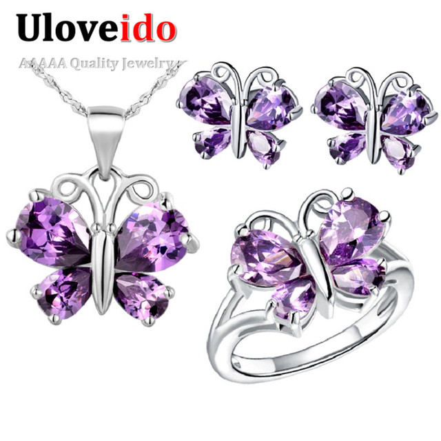 Uloveido Butterfly Silver Purple Crystal Party Dress Bridal Jewelry Set Gift Wedding Jewelry Sets Rings Necklace Earrings T235