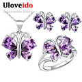 Uloveido borboleta prata cristal roxo vestido de festa nupcial conjuntos de jóias de casamento conjunto de jóias de presente colar anéis brincos t235