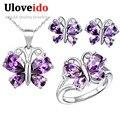 Uloveido púrpura vestido de fiesta de cristal de la mariposa de plata regalo de la joyería nupcial conjuntos de joyas de boda anillos pendientes collar t235