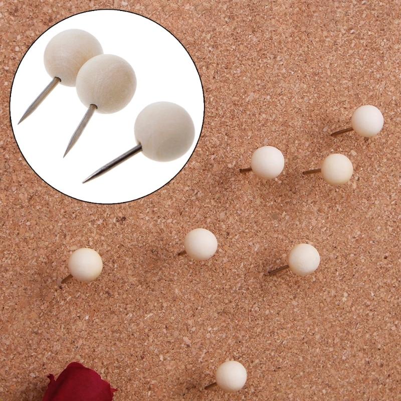 60 Pcs Round Wooden Thumbtack Creative Decorative Drawing Push Pins Wood Head