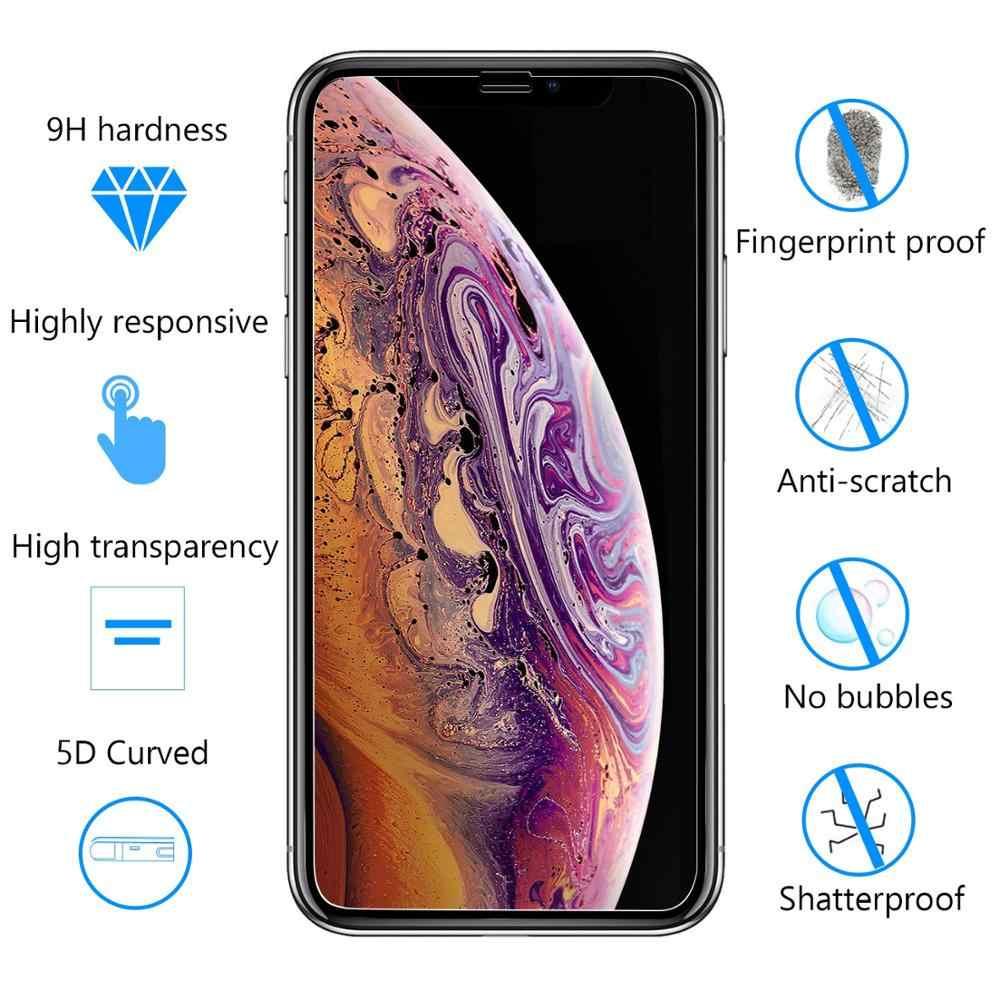 Protector de pantalla de vidrio templado 5D tecnología curvada cobertura completa dureza 9H Anti-rasguño para iPhone 6 7 8 Plus X XR XS Max