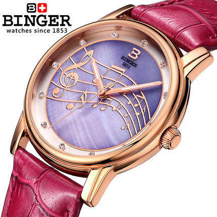 Best Quality counters Binger brand Quartz watch Simple cute trendy rose gold bracelet watches fashion leisure Music Wristwatch