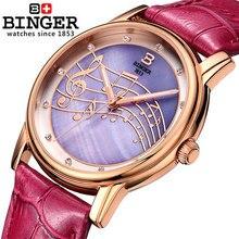 Лучшее Качество счетчики Бингер бренд Кварцевые часы Простой симпатичные модные розовое золото браслет часы мода досуг Музыка Наручные Часы