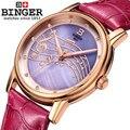 Melhor qualidade contadores marca binger relógio de quartzo simples bonito na moda ouro rosa pulseira relógios lazer moda relógio de pulso da música
