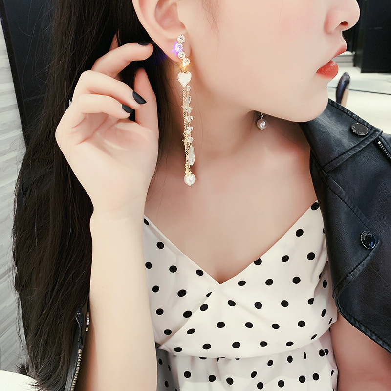 DREJEW Asymmetry Gold Heart Star Pearl Statement Dangle Earrings Long Tassel 2019 925 Drop Earrings Sets for Women Jewelry E8011 in Drop Earrings from Jewelry Accessories