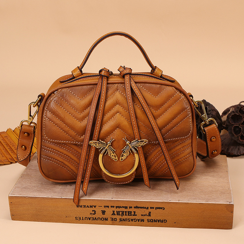2018 Luxury Women Genuine Leather Handbags Ladies Retro Elegant Shoulder Messenger Bag Cow Leather Handmade Woman Crossbody Bags vintage women genuine leather handbags ladies retro elegant shoulder messenger bag cow leather handmade womans bags