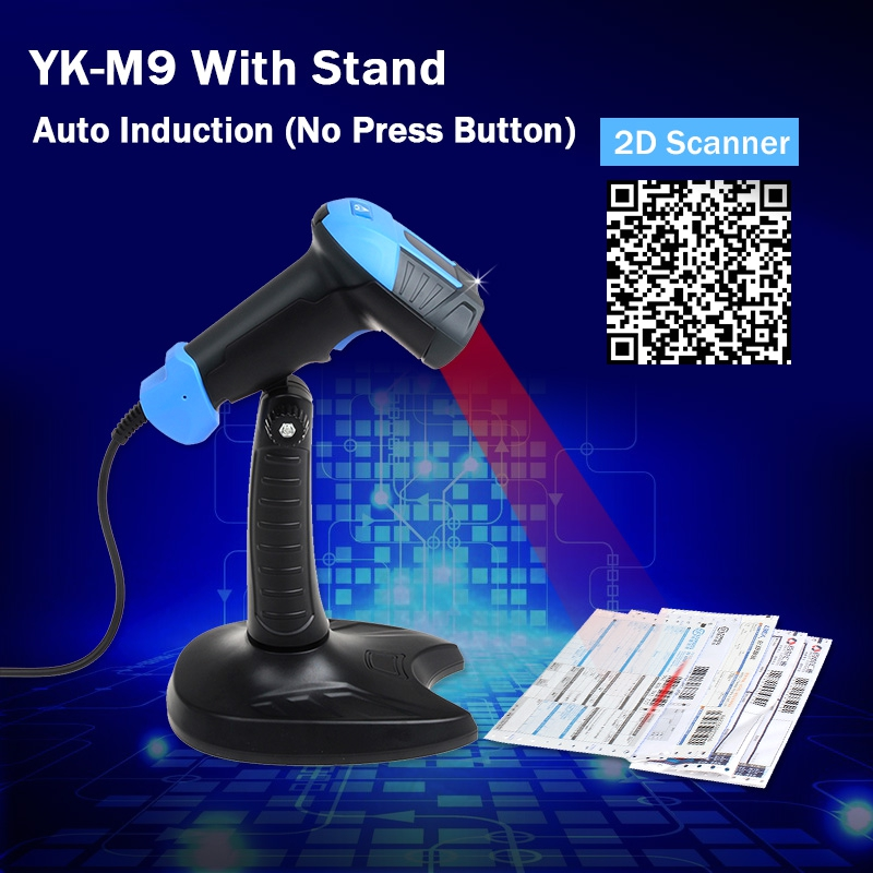 M9 Handheld Auto Sense ( No Press Button ) Virtual COM Port Supports 2D QR Code USB Wired Barcode Scanner W/Holder