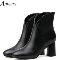 AIWEIYi Shoes Woman Genuine Leather Motorcycle Boots High Heels Snow Boots Brand Designer Shoes For Women