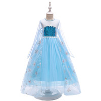 2019 Children's Day Kids Dresses For Girls Long Sleeve Party Dresses Snowflake Pattern Costume Girls Princess Dress Vestidos