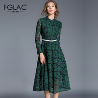 FGLAC Women Lace Dress New Arrivals Autumn And Winter Long Sleeved Women Dress Elegant Slim Vintage