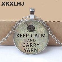 1PCS Heat Keep Cool Wearing Knit Pendant Necklace Jewelry Crease Glass Photo Cabochon Fashion
