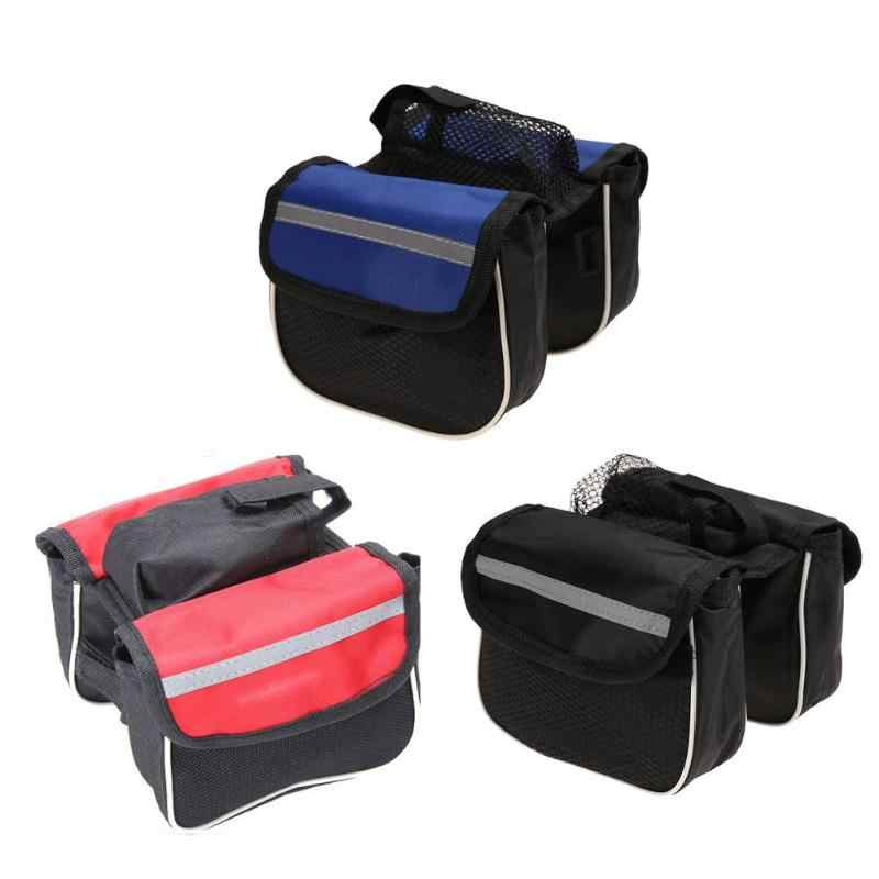 New Practical MTB Bike Bag Road Bike Frame Front Tube Panniers Double Pouch Cycling Bicycle Portable Bags Accessories