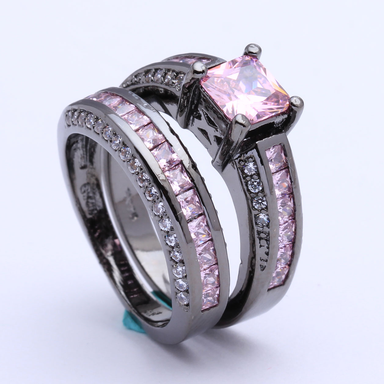 women wedding rings set wholesale black gold color engagement design paved pink blue imitation yellow cz cz zircon jewelry ring - Womens Black Wedding Ring Sets