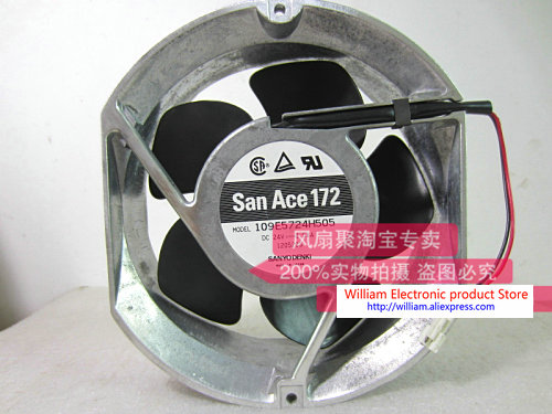 Original SANYO 109E5724H505 DC24V 0.58A 17cm 172*172*51MM Inverter aluminum frame cooling fan free shipping new original sanyo 9bam24p2g17 dc24v 0 9a 97 33mm 9cm large wind blower cooling fan