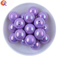 Модные фиолетовый цвет 20 мм 100 шт./лот AB Блестящий сплошной Цвет акрил Бусины Коренастый Bubblegum Бусины для ювелирных изделий DIY cdwb-701034