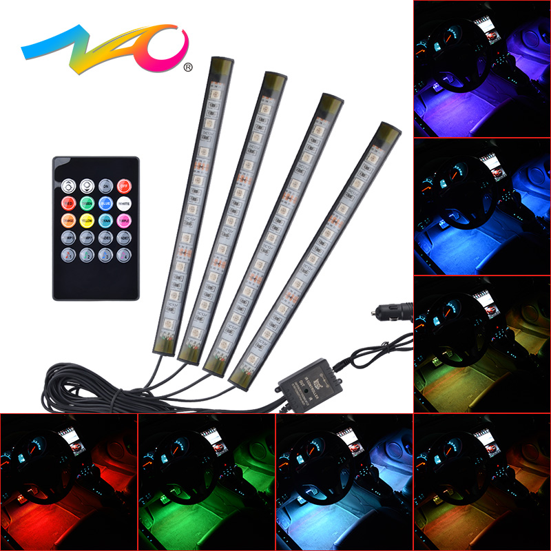 NAO 4pcs RGB car Atmosphere Lamp led Car Interior Light automobile DRL Decorative auto Floor Light Strip 12V IR Remote Control 4 in 1 12v auto car atmosphere light interior floor dash decoration light foot led lamp bar 9 leds with cigarette lighter