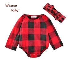 2Pcs Newborn Baby Bodysuits Cotton Plaid Floral Dots Girl Jumpsuit Infant Girls Clothing Set Bodysuit+Bow Headwear Kids Costumes