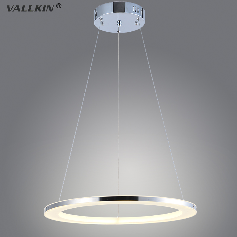 ФОТО VALLKIN Modern LED Ring Stainless Acrylic Pendant Light for Living Room Dining Hotel Indoor Home Deco Lighting CE FCC