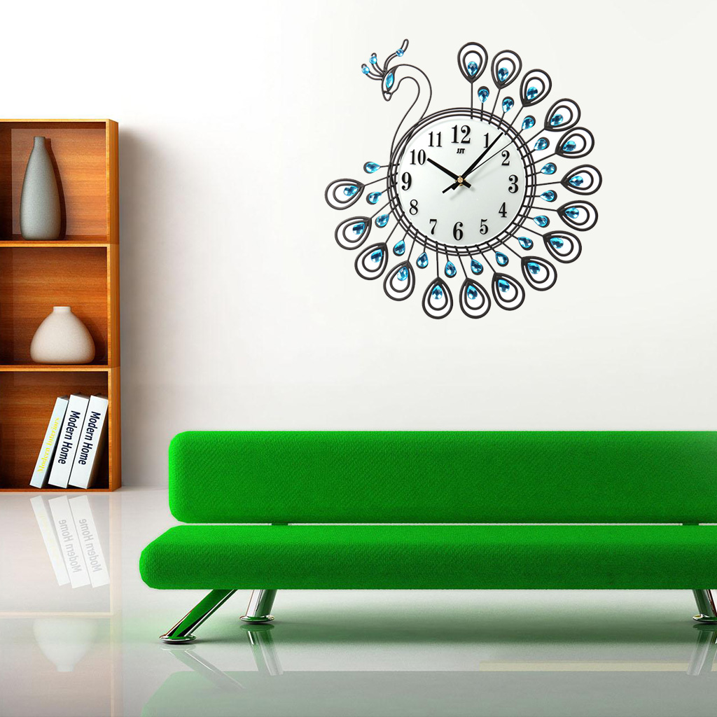 2018 Creative Peacock Large Wall Clock Metal Living Room Watch Home Office Decoration