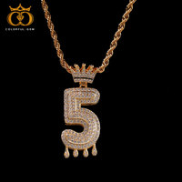 colorful.gem Hip Hop Jewelry Zircon Letters Necklaces & Pendant For Men/Women Gold Silver Color Fashion with Rope/ Tennis