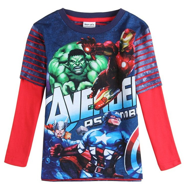 Retail Niños casual camiseta Capitán América Iron kids casual T-shirt ropa de niños otoño/primavera bebé ropa A5682