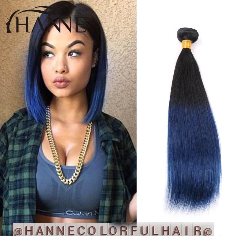 Malaysian Straight Hair Blue Ombre Human Hair 1 Bunlde Remy Hair