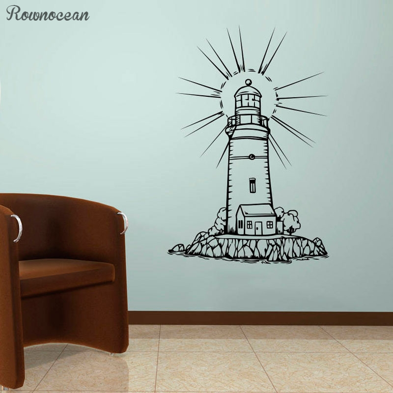 Lighthouse Wall Vinyl Stencil Seascape Sticker Home Maritime Decor Bathroom Waterproof Decorative Decals Kid 39 s Room Poster Z261 in Wall Stickers from Home amp Garden