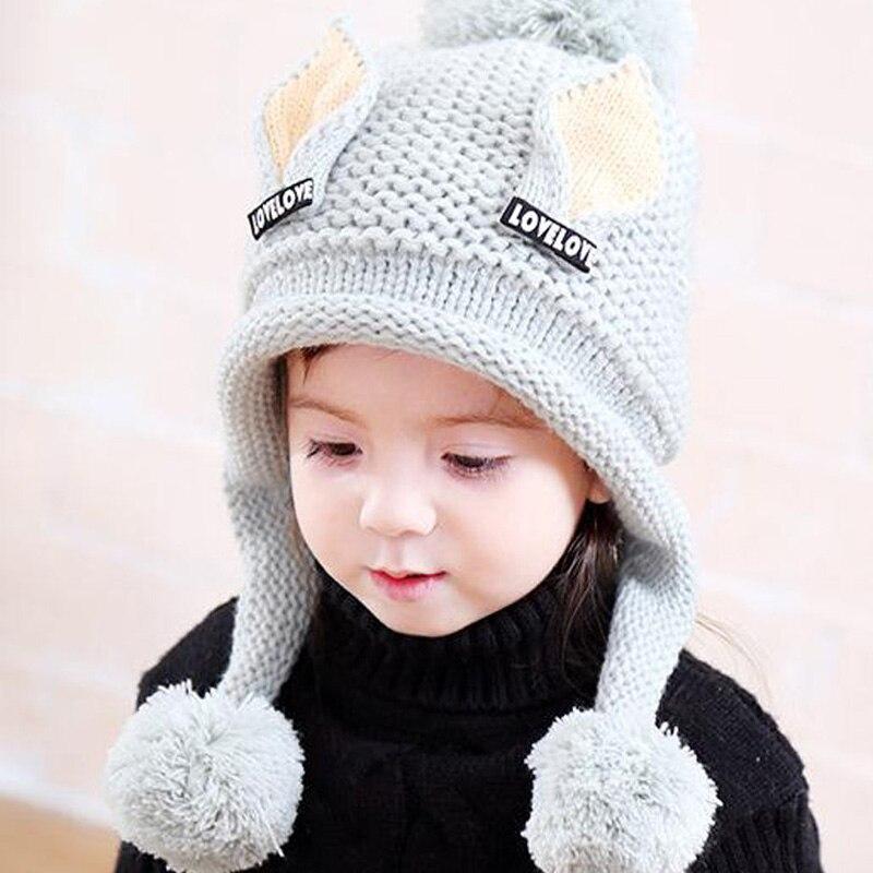 Doitbest/бархатные шапки для мальчиков от 2 до 6 лет, шерстяные шапки с кошачьими ушками однотонная зимняя вязаная шапка для маленьких детей, детские шапки с ушками для девочек - Цвет: light green