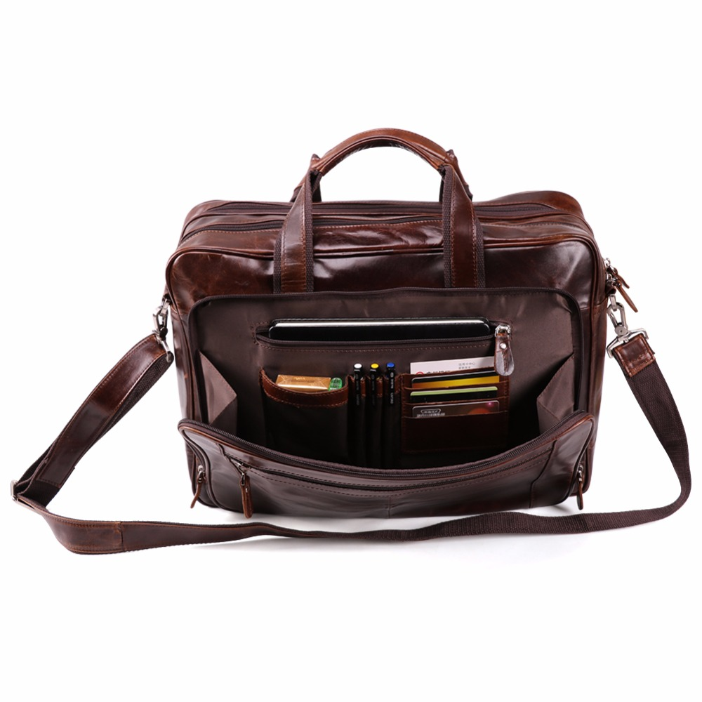 JOYIR Men 39 s Genuine Leather Briefcases 16 quot Big Real Leather Laptop Tote Bag Cow Leather Business Bag Casual Men Travel Bag in Briefcases from Luggage amp Bags