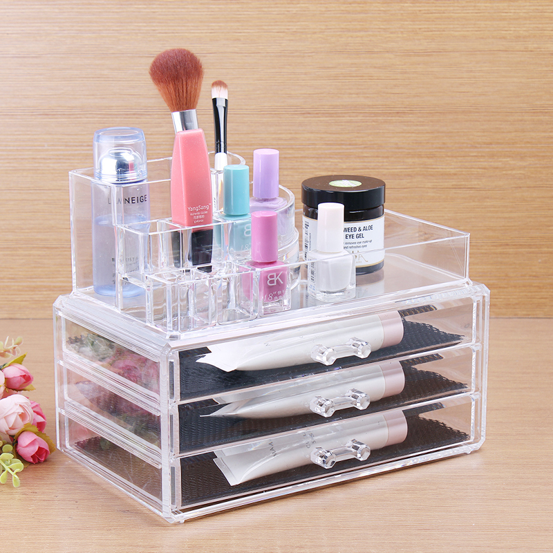 1Set Acrylic Cosmetic Box Makeup Organizer Box Case Clear With 3 Storage  Drawers Multifunction Girls Cosmetics Part 13