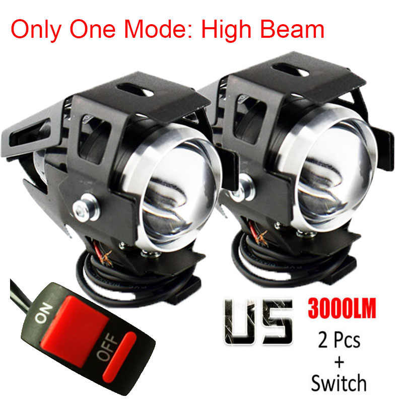 2PCS motorcycle U5 LED headlights only one model high beam auxiliary work lamp12V 125W Motor DRL Head Lights Motorbike Spotlight