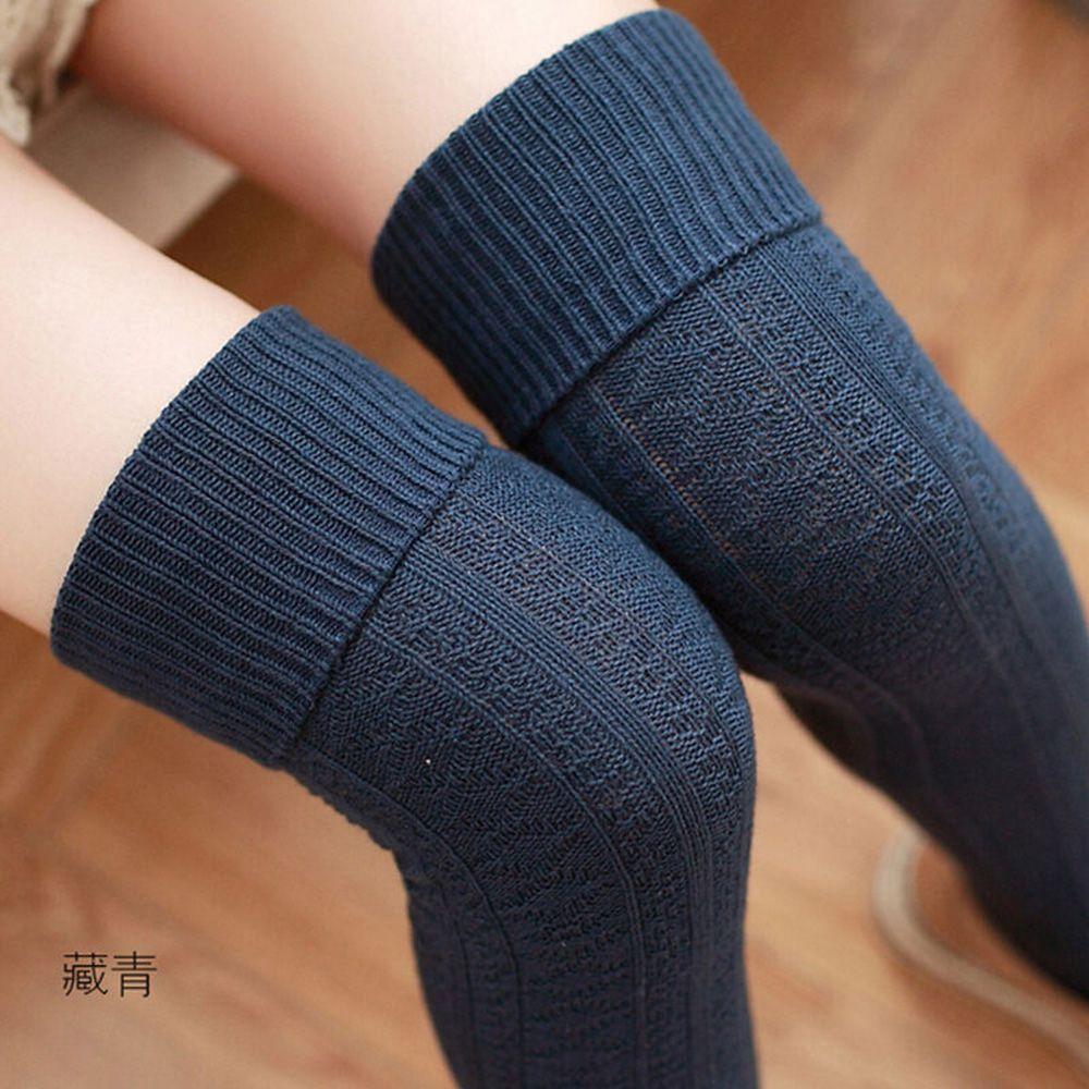 1 Paar Frauen Mädchen Über Knie Hohe Socken Frühling Herbst Winter Warm Knit Weiche Oberschenkel Hohe Lange Socken Einfarbig Lose Socken Elegant Im Stil