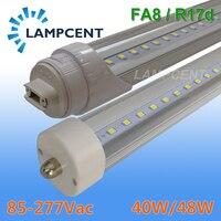 50 100/Pack 8FT LED Tube Light Bulb 40W/48W Single Pin FA8 Garage LED Shop Light