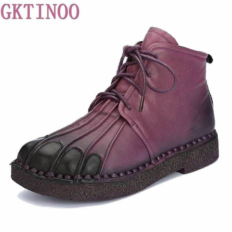 Martin Boots Genuine Leather Ankle Shoes Vintage Women Shoes Winter Handmade Boots For Women women led light shoes casual shoes led luminous boots unisex genuine leather ankle boots women usb charging martin boots 35 46