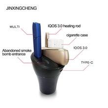 Jinxingcheng Draagbare 2 In 1 Ontwerp Autolader Voor Iqos 3.0 Charger Type C Opladen Abs Materiaal voor Iqos Multi 3.0