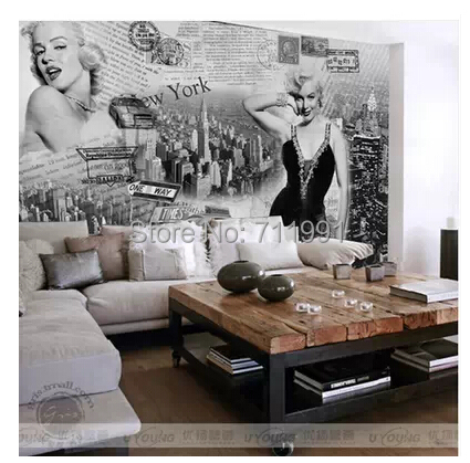 Aliexpress.com : Buy Free Shipping Custom Modern 3D Murals Marilyn Monroe  Bedroom Study Bar Traders Hotel Background Wall Wallpaper From Reliable  Wallpaper ... Part 44